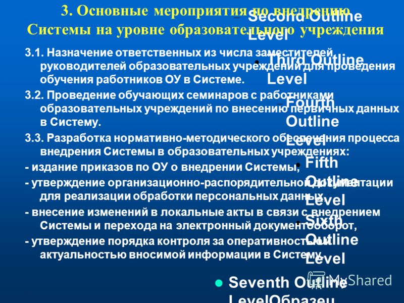 Click to edit the outline text format Second Outline Level Third Outline Level Fourth Outline Level Fifth Outline Level Sixth Outline Level Seventh Outline LevelОбразец текста Второй уровень Третий уровень Четвертый уровень Пятый уровень 3. Основные