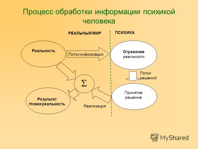 Реальность Отражение реальности Принятое решение Результат Новая реальность Поток информации ПСИХИКА РЕАЛЬНЫЙ МИР Поток решений Реализация Процесс обработки информации психикой человека