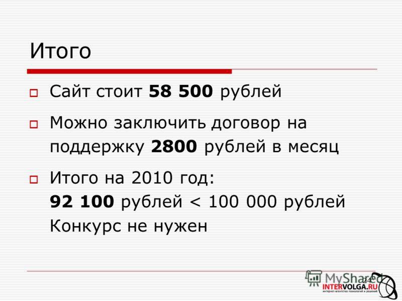 24 Итого Сайт стоит 58 500 рублей Можно заключить договор на поддержку 2800 рублей в месяц Итого на 2010 год: 92 100 рублей < 100 000 рублей Конкурс не нужен