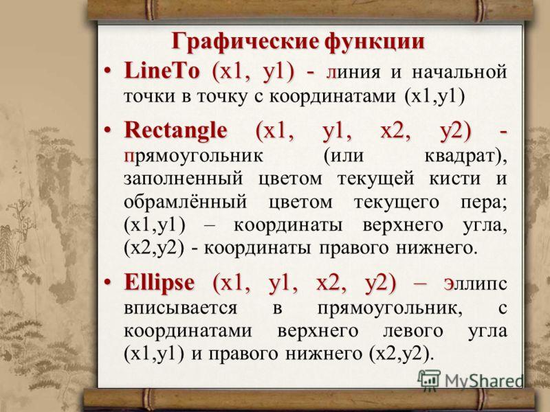 Графические функции LineTo (x1, y1) - лLineTo (x1, y1) - линия и начальной точки в точку с координатами (x1,y1) Rectangle (x1, y1, x2, y2) - пRectangle (x1, y1, x2, y2) - прямоугольник (или квадрат), заполненный цветом текущей кисти и обрамлённый цве