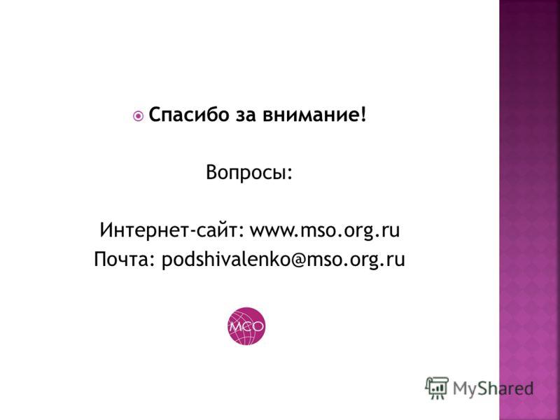 Спасибо за внимание! Вопросы: Интернет-сайт: www.mso.org.ru Почта: podshivalenko@mso.org.ru