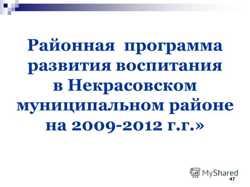47 Районная программа развития воспитания в Некрасовском муниципальном районе на 2009-2012 г.г.»