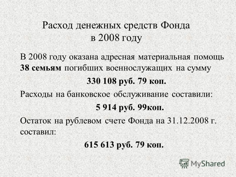 Расход денежных средств Фонда в 2008 году В 2008 году оказана адресная материальная помощь 38 семьям погибших военнослужащих на сумму 330 108 руб. 79 коп. Расходы на банковское обслуживание составили: 5 914 руб. 99коп. Остаток на рублевом счете Фонда