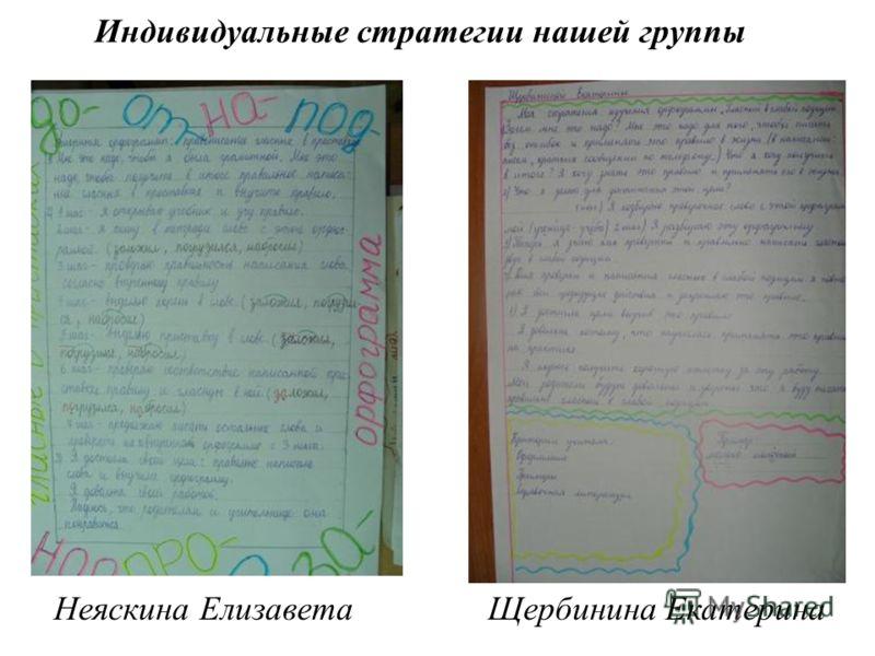 Индивидуальные стратегии нашей группы Неяскина ЕлизаветаЩербинина Екатерина