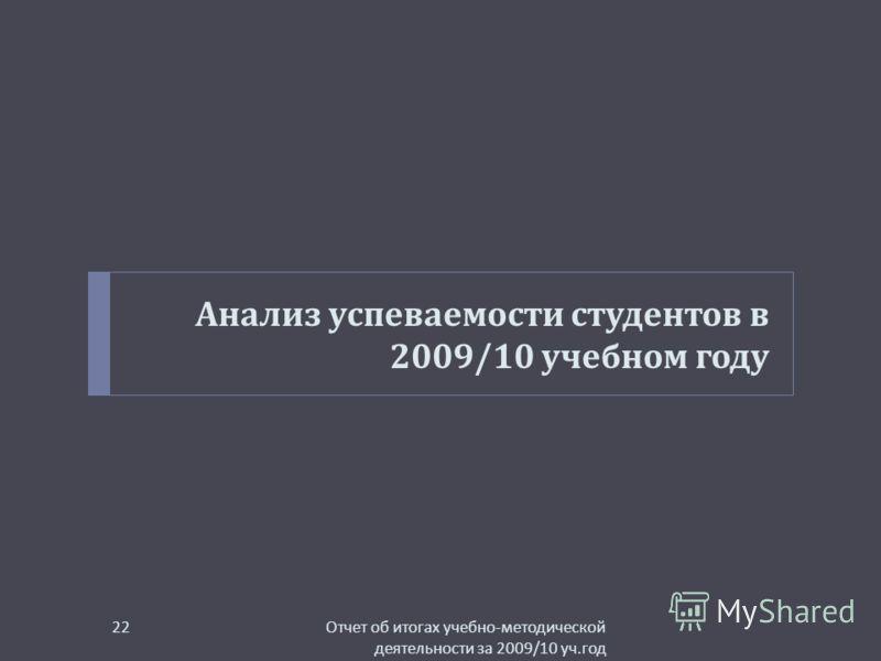 Анализ успеваемости студентов в 2009/10 учебном году Отчет об итогах учебно - методической деятельности за 2009/10 уч. год 22
