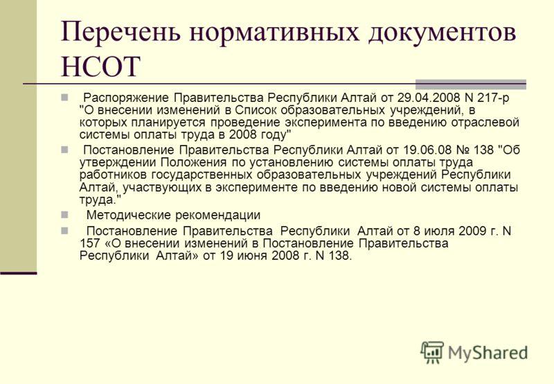 Перечень нормативных документов НСОТ Распоряжение Правительства Республики Алтай от 29.04.2008 N 217-р