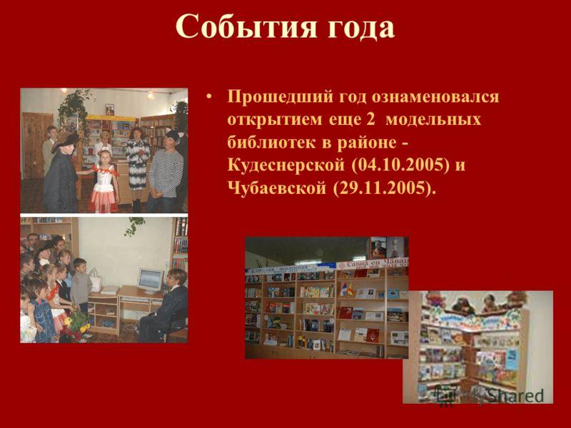 События года Прошедший год ознаменовался открытием еще 2 модельных библиотек в районе - Кудеснерской (04.10.2005) и Чубаевской (29.11.2005).