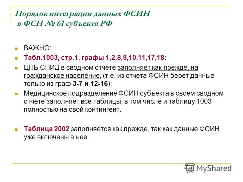 Порядок интеграции данных ФСИН в ФСН 61 субъекта РФ ВАЖНО: Табл.1003, стр.1, графы 1,2,8,9,10,11,17,18: ЦПБ СПИД в сводном отчете заполняет как прежде, на гражданское население, (т.е. из отчета ФСИН берет данные только из граф 3-7 и 12-16); Медицинск