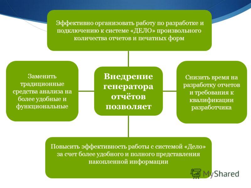 Эффективно организовать работу по разработке и подключению к системе «ДЕЛО» произвольного количества отчетов и печатных форм Снизить время на разработку отчетов и требования к квалификации разработчика Внедрение генератора отчётов позволяет Заменить