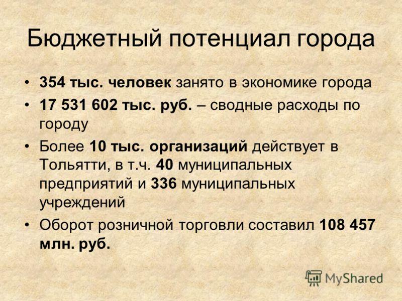 Бюджетный потенциал города 354 тыс. человек занято в экономике города 17 531 602 тыс. руб. – сводные расходы по городу Более 10 тыс. организаций действует в Тольятти, в т.ч. 40 муниципальных предприятий и 336 муниципальных учреждений Оборот розничной