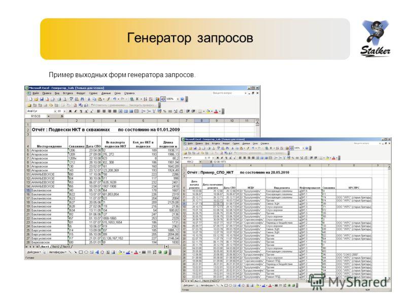 Генератор запросов Пример выходных форм генератора запросов.