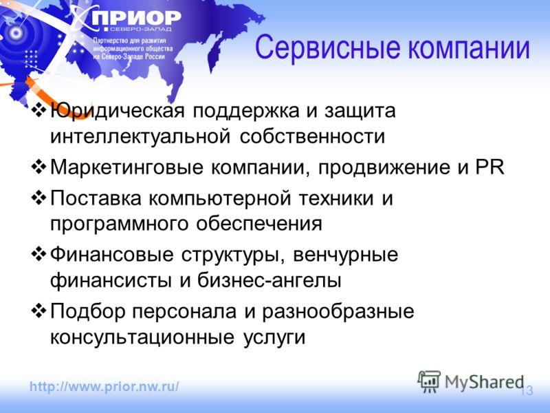 http://www.prior.nw.ru/ 13 Сервисные компании Юридическая поддержка и защита интеллектуальной собственности Маркетинговые компании, продвижение и PR Поставка компьютерной техники и программного обеспечения Финансовые структуры, венчурные финансисты и
