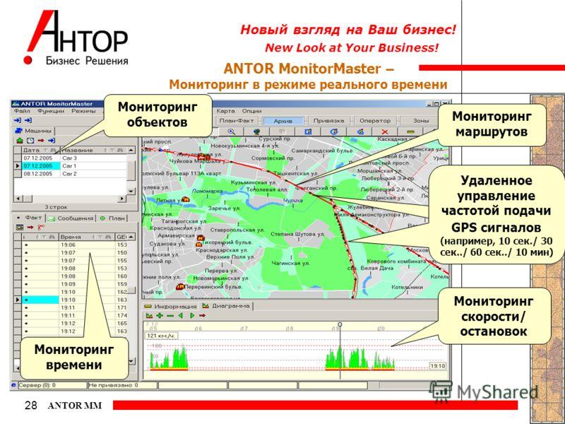 New Look at Your Business! Новый взгляд на Ваш бизнес! 28 ANTOR MM ANTOR MonitorMaster – Мониторинг в режиме реального времени Мониторинг скорости/ остановок Мониторинг маршрутов Мониторинг времени Удаленное управление частотой подачи GPS сигналов (н