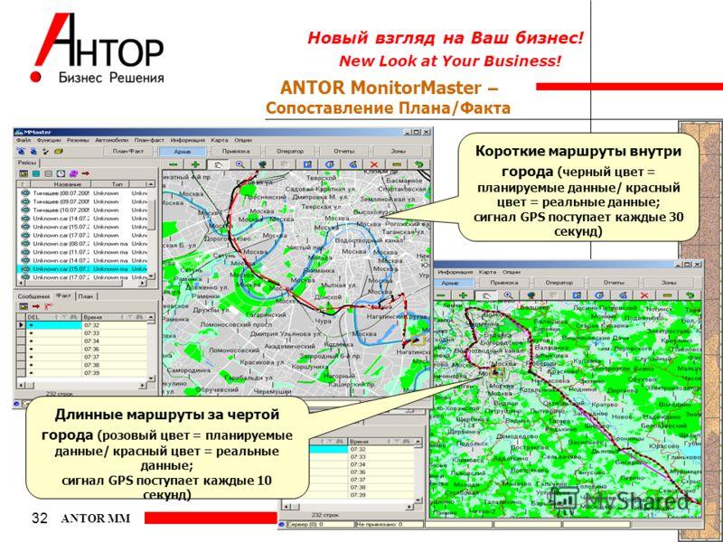 New Look at Your Business! Новый взгляд на Ваш бизнес! 32 ANTOR MM ANTOR MonitorMaster – Сопоставление Плана/Факта Короткие маршруты внутри города (черный цвет = планируемые данные/ красный цвет = реальные данные; сигнал GPS поступает каждые 30 секун