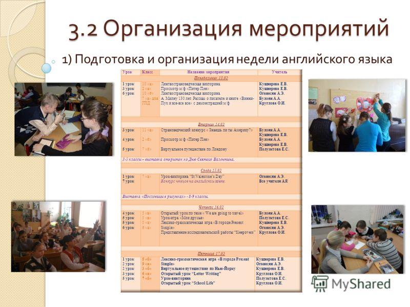 3.2 Организация мероприятий 1) Подготовка и организация недели английского языка