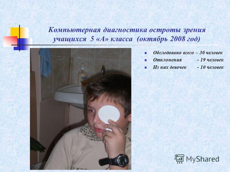 Обследовано всего – 30 человек Отклонения - 19 человек Из них девочек - 10 человек Компьютерная диагностика остроты зрения учащихся 5 «А» класса (октябрь 2008 год)