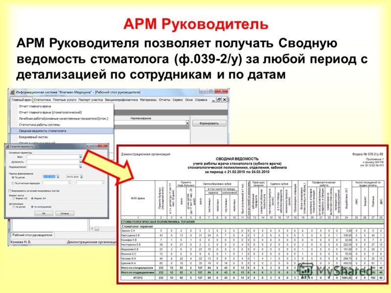 АРМ Руководитель АРМ Руководителя позволяет получать Сводную ведомость стоматолога (ф.039-2/у) за любой период с детализацией по сотрудникам и по датам