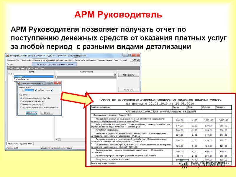 АРМ Руководитель АРМ Руководителя позволяет получать отчет по поступлению денежных средств от оказания платных услуг за любой период с разными видами детализации