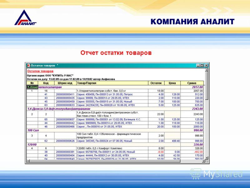 Отчет остатки товаров