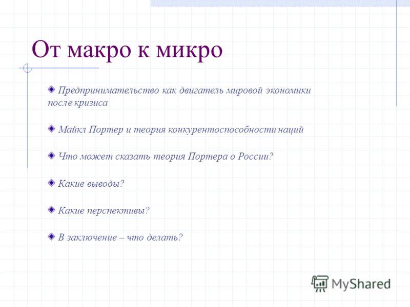 От макро к микро Предпринимательство как двигатель мировой экономики после кризиса Майкл Портер и теория конкурентоспособности наций Что может сказать теория Портера о России? Какие выводы? Какие перспективы? В заключение – что делать?