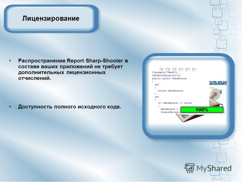 Лицензирование Распространение Report Sharp-Shooter в составе ваших приложений не требует дополнительных лицензионных отчислений. Доступность полного исходного кода.