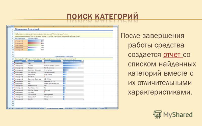 После завершения работы средства создается отчет со списком найденных категорий вместе с их отличительными характеристиками.отчет