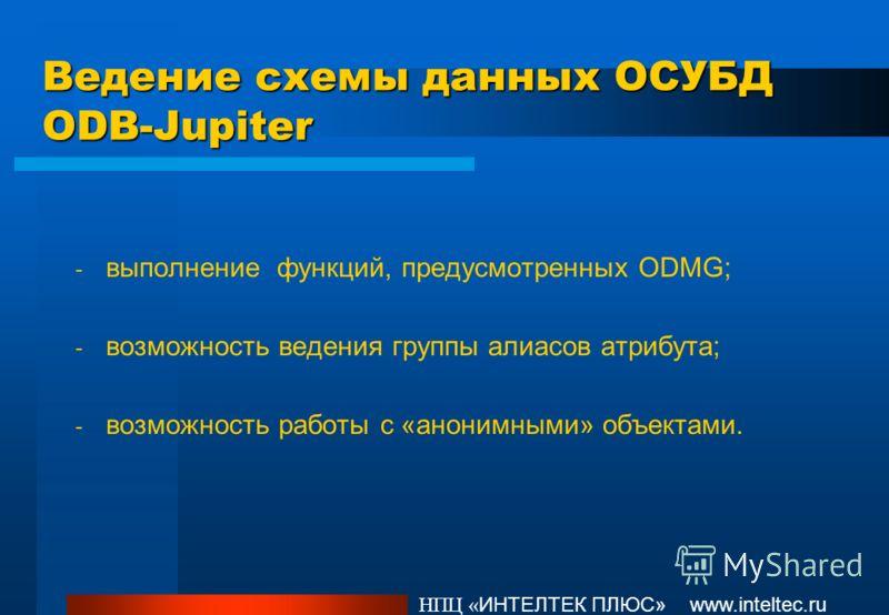 Ведение схемы данных ОСУБД ODB-Jupiter - выполнение функций, предусмотренных ODMG; - возможность ведения группы алиасов атрибута; - возможность работы с «анонимными» объектами. НПЦ « ИНТЕЛТЕК ПЛЮС» www.inteltec.ru