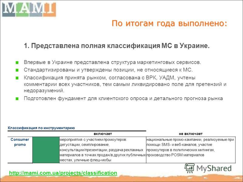 По итогам года выполнено: 1. Представлена полная классификация МС в Украине. Впервые в Украине представлена структура маркетинговых сервисов. Стандартизированы и утверждены позиции, не относящиеся к МС. Классификация принята рынком, согласована с ВРК