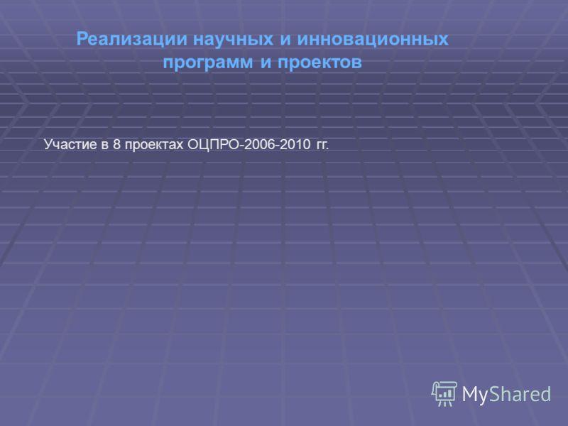 Реализации научных и инновационных программ и проектов Участие в 8 проектах ОЦПРО-2006-2010 гг.