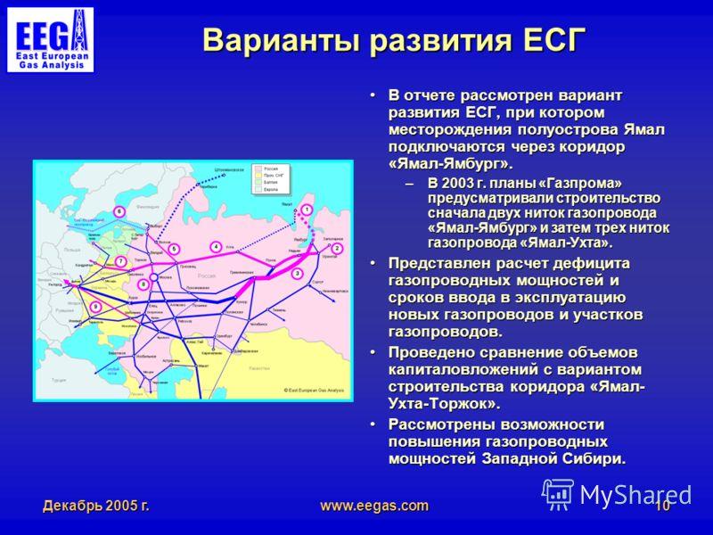 Декабрь 2005 г.www.eegas.com10 Варианты развития ЕСГ В отчете рассмотрен вариант развития ЕСГ, при котором месторождения полуострова Ямал подключаются через коридор «Ямал-Ямбург».В отчете рассмотрен вариант развития ЕСГ, при котором месторождения пол