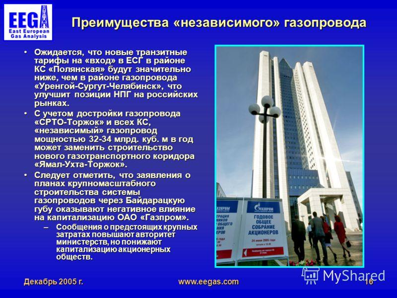 Декабрь 2005 г.www.eegas.com16 Преимущества «независимого» газопровода Ожидается, что новые транзитные тарифы на «вход» в ЕСГ в районе КС «Полянская» будут значительно ниже, чем в районе газопровода «Уренгой-Сургут-Челябинск», что улучшит позиции НПГ