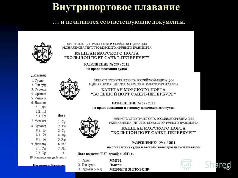 45 Внутрипортовое плавание … и печатаются соответствующие документы.