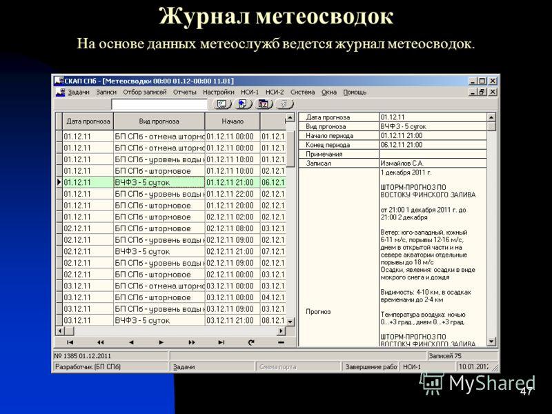 47 Журнал метеосводок На основе данных метеослужб ведется журнал метеосводок.