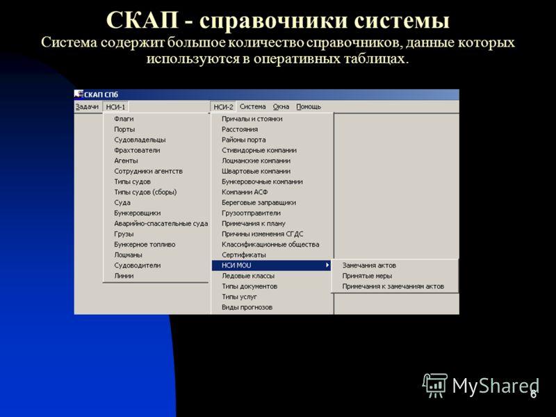 6 СКАП - справочники системы Система содержит большое количество справочников, данные которых используются в оперативных таблицах.