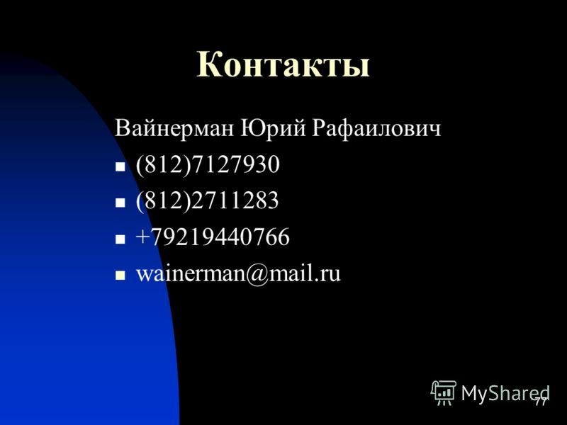 77 Контакты Вайнерман Юрий Рафаилович (812)7127930 (812)2711283 +79219440766 wainerman@mail.ru