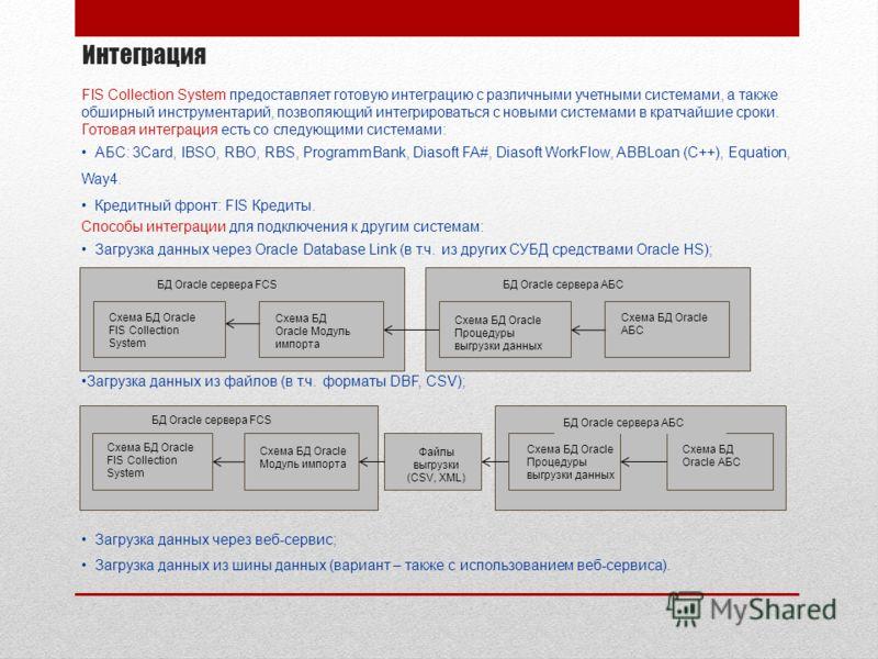 Интеграция FIS Collection System предоставляет готовую интеграцию с различными учетными системами, а также обширный инструментарий, позволяющий интегрироваться с новыми системами в кратчайшие сроки. Готовая интеграция есть со следующими системами: АБ