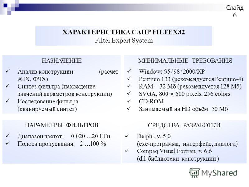 НАЗНАЧЕНИЕ Анализ конструкции (расчёт АЧХ, ФЧХ) Синтез фильтра (нахождение значений параметров конструкции) Исследование фильтра (сканируемый синтез) МИНИМАЛЬНЫЕ ТРЕБОВАНИЯ Windows 95 / 98 / 2000/XP Pentium 133 (рекомендуется Pentium-4) RAM – 32 Мб (