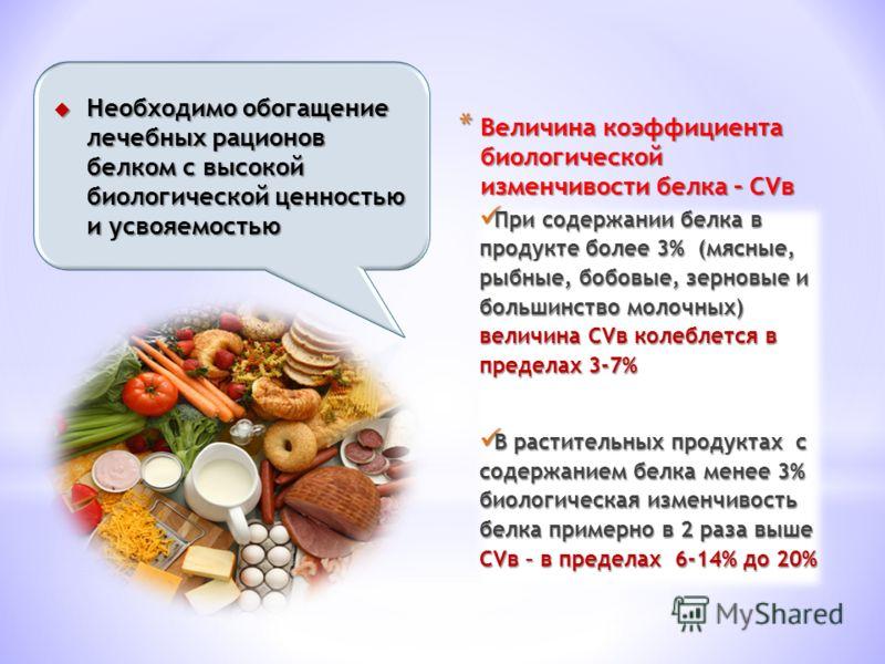 * Величина коэффициента биологической изменчивости белка – СVв При содержании белка в продукте более 3% (мясные, рыбные, бобовые, зерновые и большинство молочных) величина СVв колеблется в пределах 3-7% При содержании белка в продукте более 3% (мясны