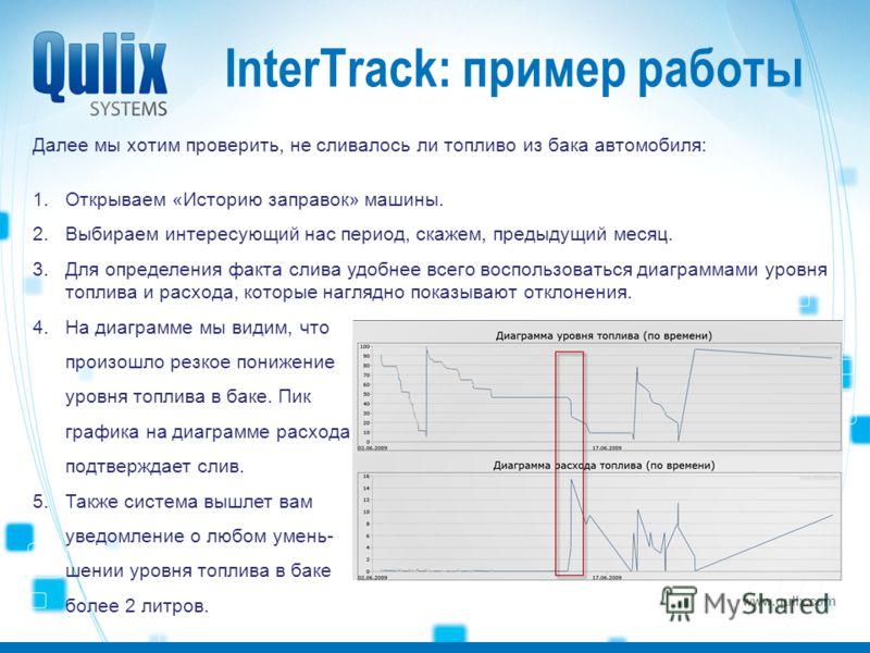www.qulix.com InterTrack: пример работы Далее мы хотим проверить, не сливалось ли топливо из бака автомобиля: 1.Открываем «Историю заправок» машины. 2.Выбираем интересующий нас период, скажем, предыдущий месяц. 3.Для определения факта слива удобнее в