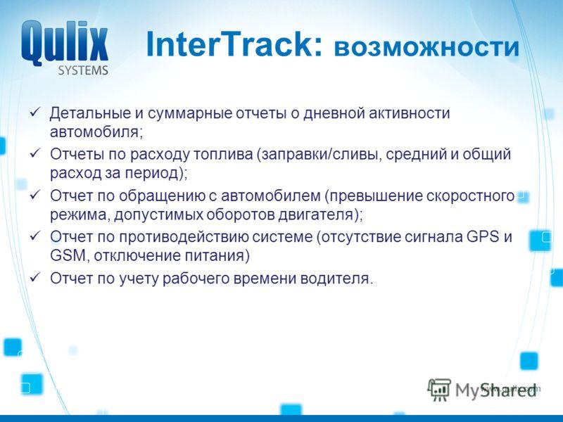 www.qulix.com InterTrack: возможности Детальные и суммарные отчеты о дневной активности автомобиля; Отчеты по расходу топлива (заправки/сливы, средний и общий расход за период); Отчет по обращению с автомобилем (превышение скоростного режима, допусти