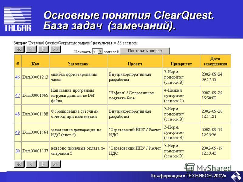Конференция «ТЕХНИКОН-2002» Основные понятия ClearQuest. База задач (замечаний).