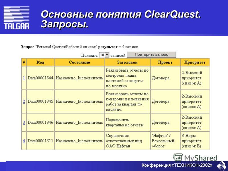 Конференция «ТЕХНИКОН-2002» Основные понятия ClearQuest. Запросы.