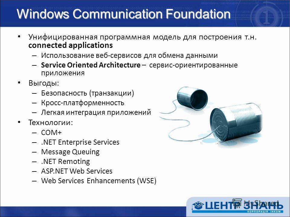 Windows Communication Foundation Унифицированная программная модель для построения т.н. connected applications – Использование веб-сервисов для обмена данными – Service Oriented Architecture – сервис-ориентированные приложения Выгоды: – Безопасность