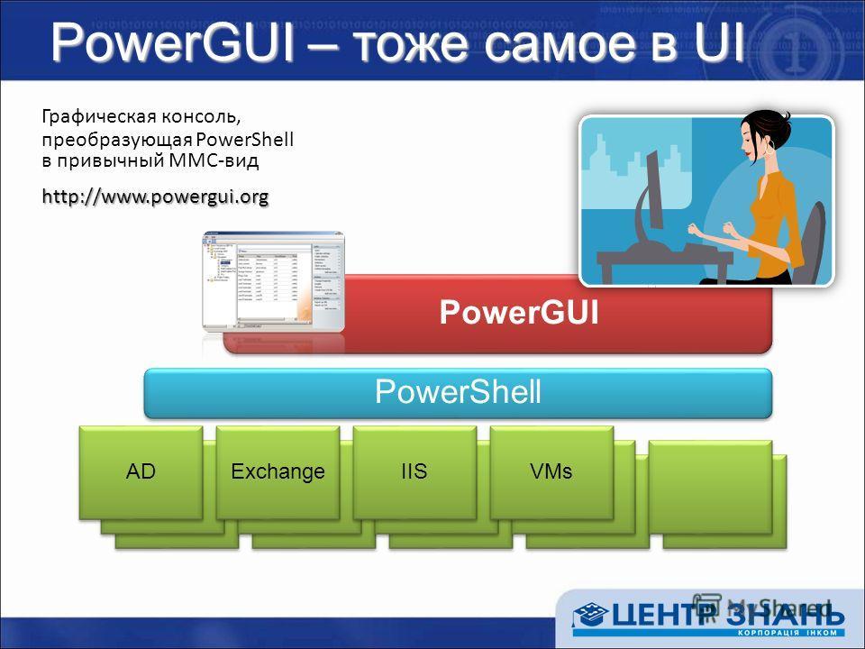 PowerGUI – тоже самое в UI Графическая консоль, преобразующая PowerShell в привычный MMC-видhttp://www.powergui.org PowerShell AD Exchange IIS VMs PowerGUI