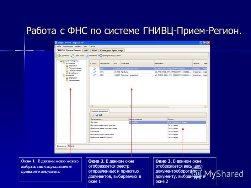 Работа с ФНС по системе ГНИВЦ-Прием-Регион. Окно 1. В данном меню можно выбрать тип отправленного/ принятого документа Окно 2. В данном окне отображается реестр отправленных и принятых документов, выбираемых в окне 1 Окно 3. В данном окне отображаетс