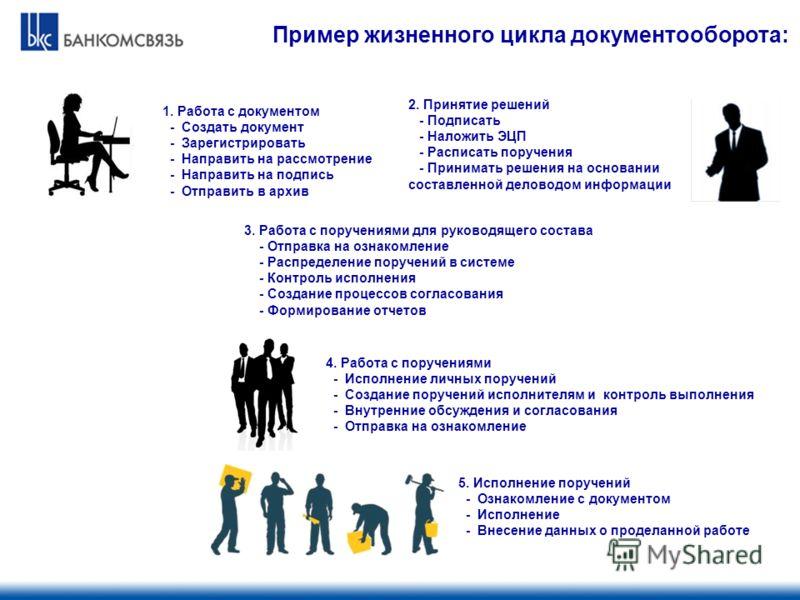 Пример жизненного цикла документооборота: 2. Принятие решений - Подписать - Наложить ЭЦП - Расписать поручения - Принимать решения на основании составленной деловодом информации 1. Работа с документом - Создать документ - Зарегистрировать - Направить