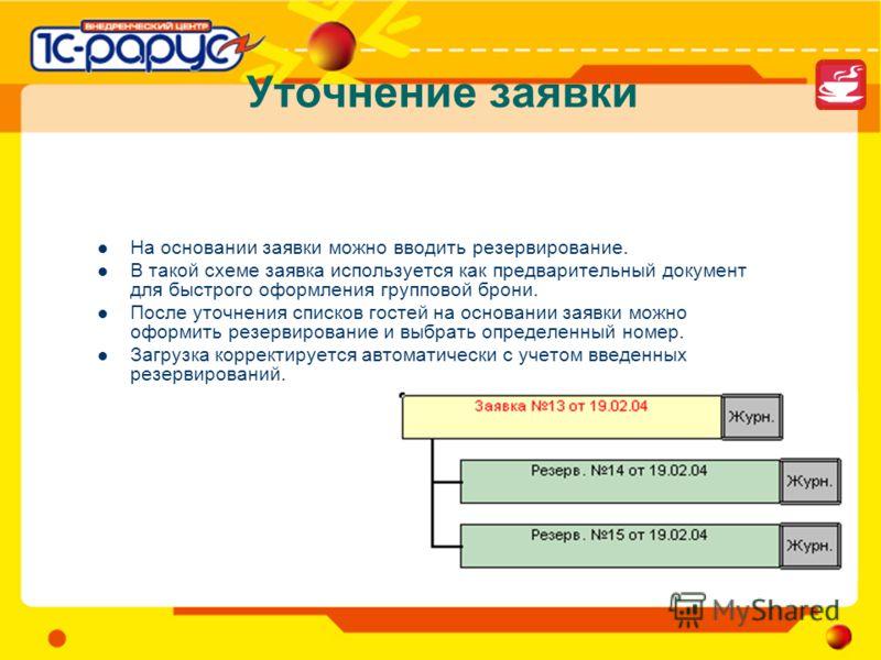 Уточнение заявки На основании заявки можно вводить резервирование. В такой схеме заявка используется как предварительный документ для быстрого оформления групповой брони. После уточнения списков гостей на основании заявки можно оформить резервировани