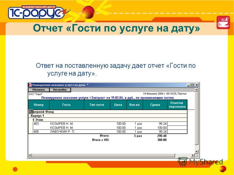 Отчет «Гости по услуге на дату» Ответ на поставленную задачу дает отчет «Гости по услуге на дату».