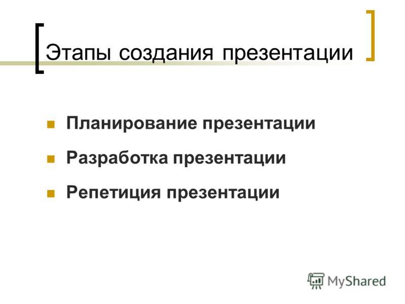 Этапы создания презентации Планирование презентации Разработка презентации Репетиция презентации
