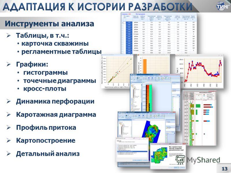 13 Таблицы, в т.ч.: карточка скважины регламентные таблицы Графики: гистограммы точечные диаграммы кросс-плоты Динамика перфорации Каротажная диаграмма Профиль притока Картопостроение Детальный анализ